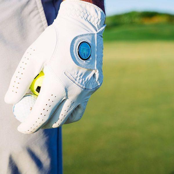 Closeup On Man's Golf Glove With Palmilla Beach Resort Logo Holding A Couple Of Golf Balls